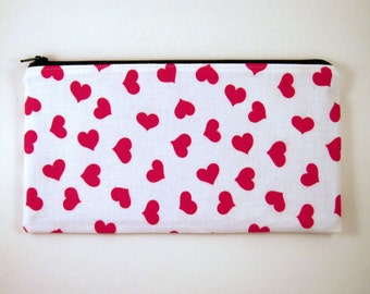 Red Hearts Zipper Pouch, Pencil Pouch, Make Up Bag, Gadget Bag