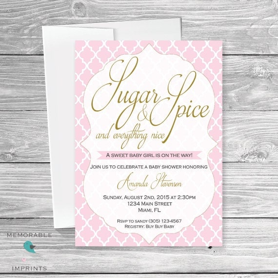 baby shower invitation sugar and spice baby shower invitation girl
