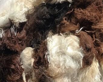 raw suri alpaca fiber - multi blend (white/black/brown)