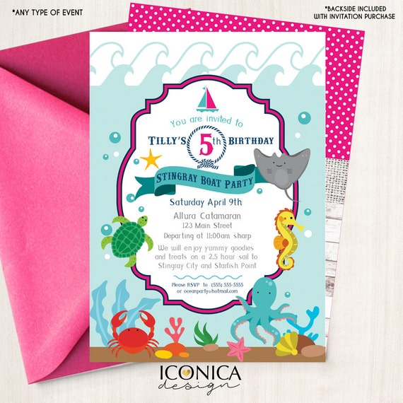 Birthday Party Yacht: Nautical Birthday Invitation Boat Party Stingray Ocean