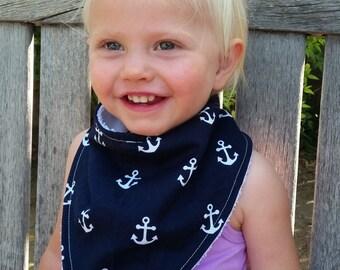 Baby Bandana Bib, Baby Bib, Dribble Bib, Drool Bib, Baby Bibs Handmade,   Navy Anchors