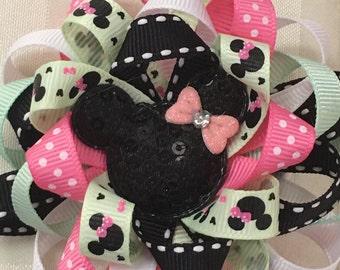 Disney Hair Bows Mickey Mouse Hair Bow Minnie Mouse Hair Bow Loopy Flower Hair Bow