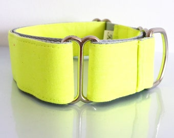 "Adjustable Martingale dog collar ""Neon yellow"""