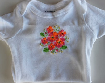 Floral Embroidered Onesie