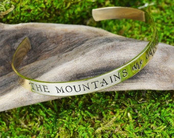 The Mountains Are Calling Travel Bracelet - Aluminum Brass or Copper Bangle