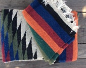 Mexican Blanket, diamond tribal aztec, style vintage, rustic, multi purpose rug, yoga, picnic blanket, camping or as a simple home decoratio