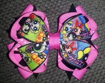 Bubbles Blossom Buttercup Bunny and Bell Handmade Pink Black Stacked Boutique Bow