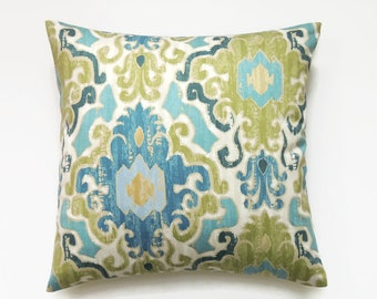 Blue Ikat Pillow, 16x16 Pillow Cover, Green Throw Pillow, Decorative Pillows, Accent Pillow Covers, Swavelle Mill Creek Toroli Twill Aqua