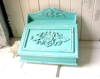 aqua ornate storage box teal box office storage box shabby chic box chic mint teal office