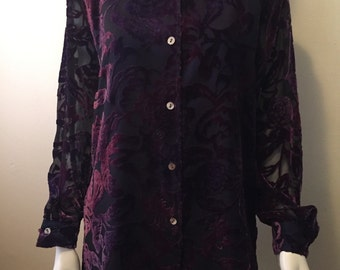 Vintage burn out velvet aubergine Linea by Louis Dell'Olio blouse top cardigan jacket stunning! M/L