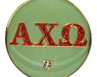 Alpha Chi Omega Sage & Scarlet Greek Letter Golf Ball Marker with Magnetic Hat Clip
