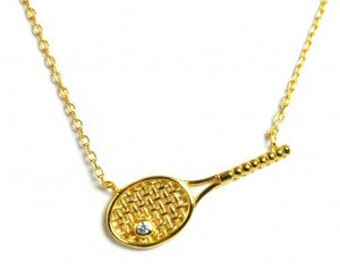 Tennis Racquet Necklace with Crystal- Silver or Gold