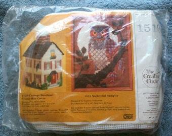 Vintage Creative Circle Needlepoint Kit Night Owl Sampler Owl Needlepoint Eugenia Parfionow  1984 Kit 1519 Wall Decoration Deserdog Destash