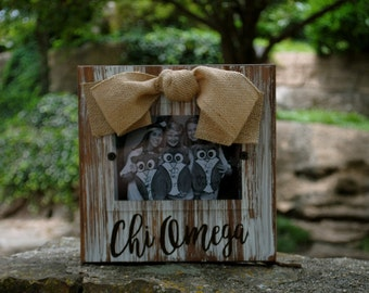 Chi Omega Whitewashed Rustic Frame