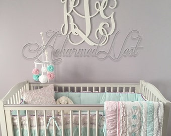 24 inch Wooden Monogram Letters- Wood Monogram for Children Baby Nursery Boy Girl - Bedroom Decor - Above Bed Wall Hanging, Wall Art Sign