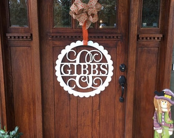Wooden Monogram - Unpainted Wood Monogram - Family Wood Monogram - Wedding Gift - Housewarming Gift - Personalized Door Hanger - Wooden Name