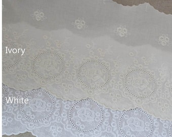 "1yard Broderie Anglaise Eyelet Cotton lace trim 8.5""(21.5cm) YH1487 laceking2013"