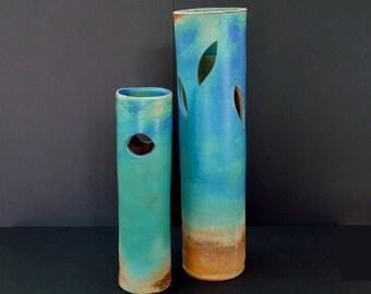 Ikebana set, large vase, turquoise vase, tall vase, blue base, stoneware, high fired
