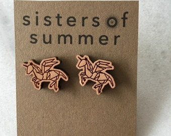 Wood Unicorn Pegacorn Earring Studs