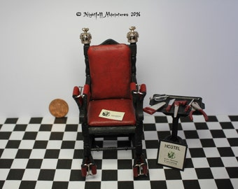 Dollhouse Miniature Dungeon Torture Chamber Gothic Horror Hostel inspired torture chair in  1:12 scale