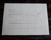 Signed PRINT of lines drawing Hell's Bay Boatwork's GUIDE 18 foot flat's skiff by Chris Morejohn. Coice of 2 sizes. Item #B4