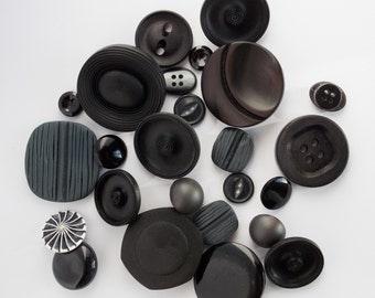 25 mixed vintage buttons, sewing supplies, assorted buttons, destash, 25 pieces, black buttons, mix lot buttons, mixed black buttons. M8