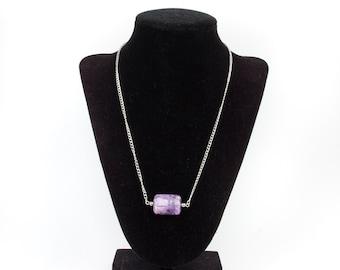 Purple Stone Silver Chain Necklace