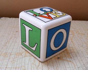 LOVE Cube Paperweight Fitz & Floyd Japan