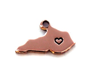 2x Rose Gold Plated Kentucky State Charms w/ Hearts - M132/H-KY