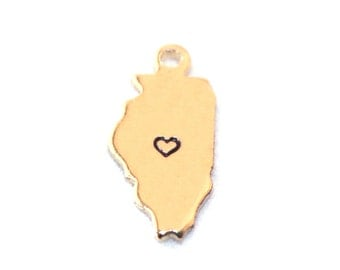 2x Gold Plated Illinois State Charms w/ Hearts - M115/H-IL