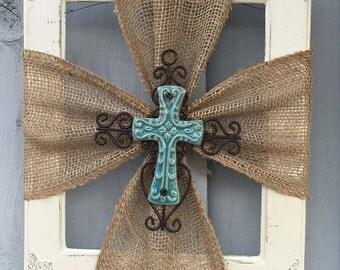 Ceramic Cross | Burlap Trim | Wood Frame | Home Decor | Rustic | Religious | Blue Cross | Faith | #0100