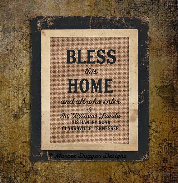 Bless this Home | Housewarming Gift | And all who enter | Burlap Print | Religious Gift | New home |0216