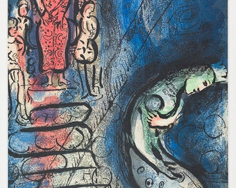 MARC CHAGALL - 'Assuerus chasse Vasthi' - hand numbered vintage lithograph - c1985 (Mourlot, Paris. Limited edition)