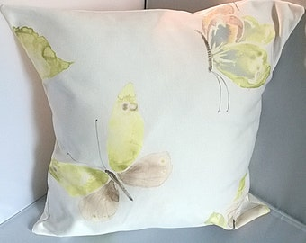 "New handmade cushion Yellow Butterfly Blue Purple  16"" x 16"""