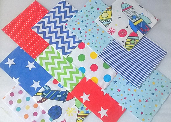 30 x baby boy rocket space 5 fabric patchwork squares for Space baby fabric