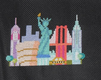Completed finished cross stitch Mini-City-NEW-YORK-Satsuma-Street-design