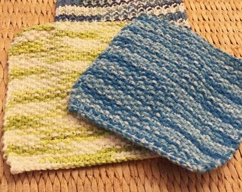Hand Knitted cotton dish/ wash cloths