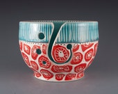 Ceramic Yarn Bowl in Red and Turquoise