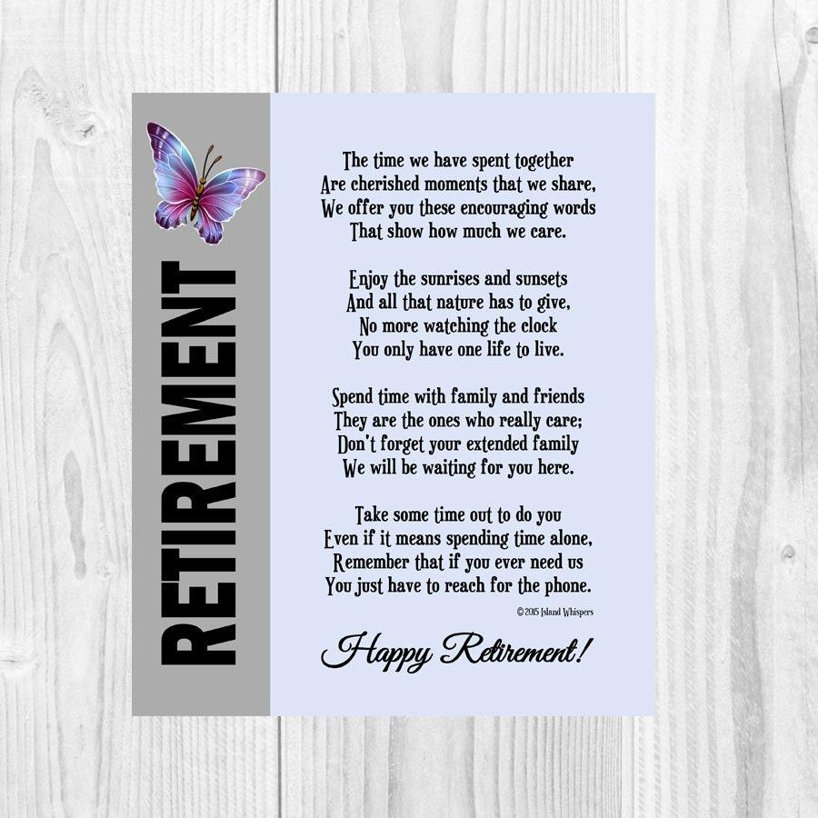 Retirement Poem Retirement Gift Co-Worker Retirement Boss