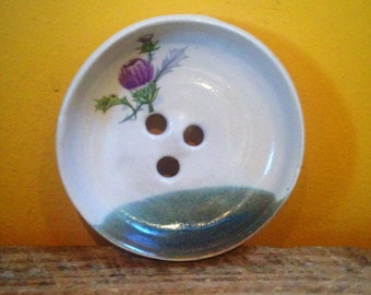 Thistle soap dish pottery stoneware