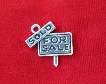 """BULK! 15pc """"For sale"""" charms in silver style (BC829B)"""