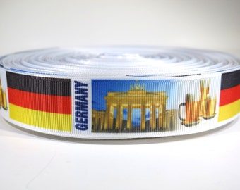 "5 yards of 1 inch ""Germany"" grosgrain ribbon"