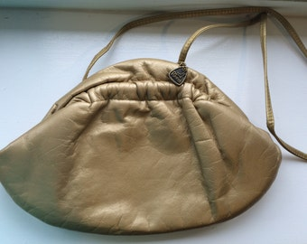 Vintage Reem Gold Leather Cross Body or Clutch Handbag