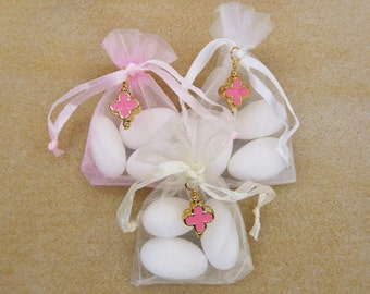Girls Baptism Favors, Organza Pouches with Jordan Almonds, Bombonieres, Christening Favors, Pink Gold Cross, Baby Shower Gift (FN17)- 10 pcs