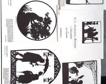 Hans Christian Andersen Fairy Tale Adventure Collectible Art Prints in Silhouette Series 1 by Else Hasselriis