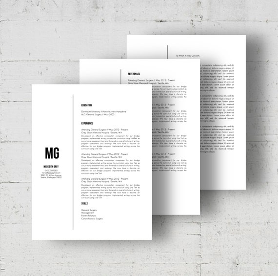Resume Template Cover Letter Template The Sara By Phdpress: Resume Template & Letter Template W/Reference Page Meredith