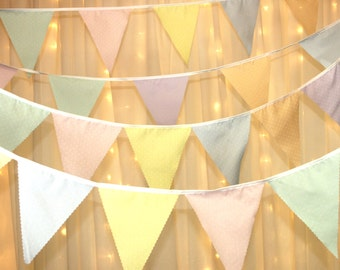 Multi coloured pastel bunting with dots perfect decoration for baby showers, wedding, bedrooms, Christenings, garden event,