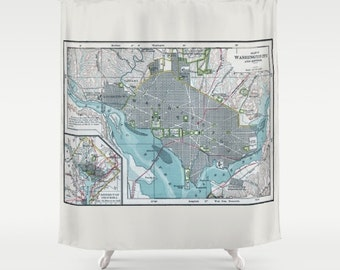 Washington DC Vintage map shower curtain - Street map of the Capitol, Potomac, historical monuments,  travel decor, blue gray