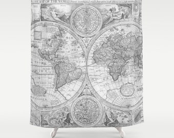World Map Shower Curtain -  gray monochrome Antique map - travel Decor - historical grey Bathroom - world maps