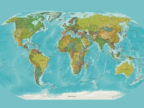 World Map Tapestry Wall hanging Modern current map print